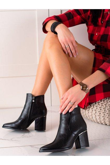 Čierne dámske topánky W. potocki kod 21-12025B