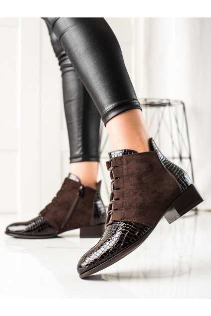 Hnedé dámske topánky W. potocki kod 21-12037BR
