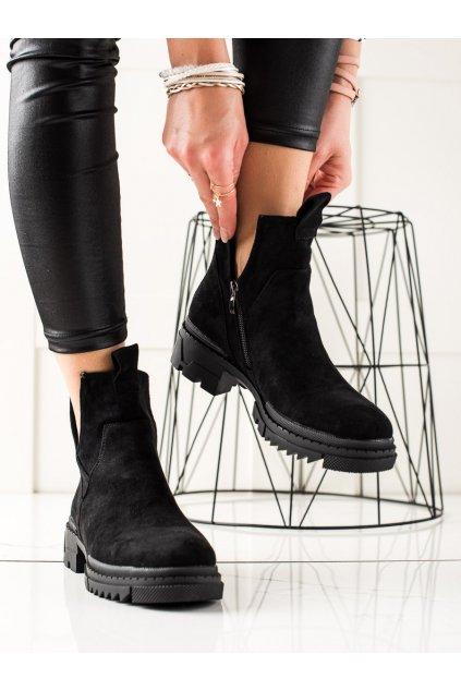 Čierne dámske topánky W. potocki kod 21-18005B