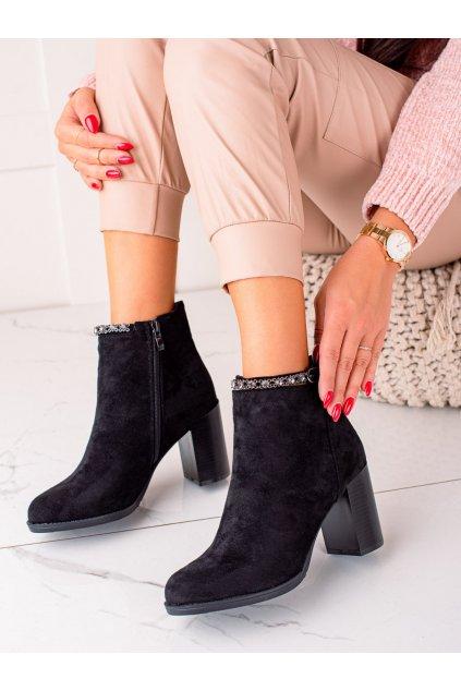 Čierne dámske topánky Trendi kod AW-72B