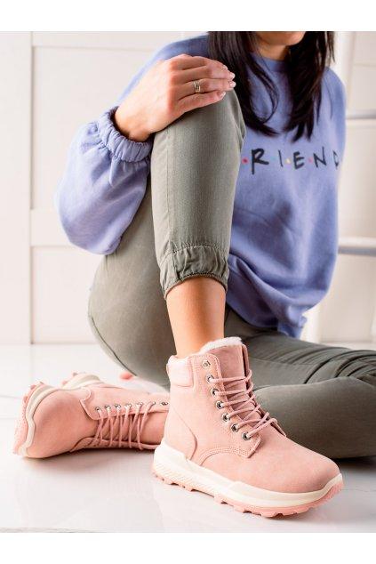 Ružové dámske traperky Trendi kod