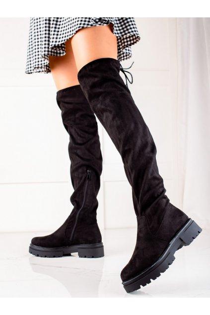 Čierne dámske čižmy Laura mode kod