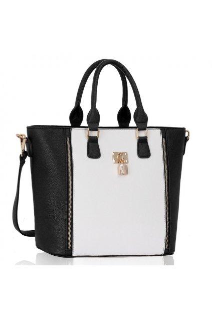Shopper kabelka do ruky Alex čierno / biela LS0031A