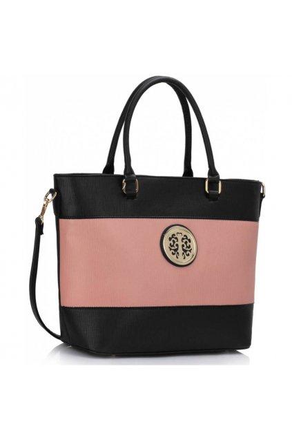Shopper kabelka do ruky Arline čierna / ružová LS00406