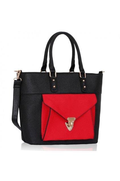 Shopper kabelka do ruky Courtney čierna / červená LS00181A