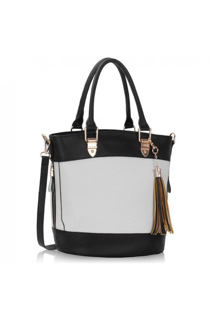 Shopper kabelka do ruky Lexy biela / čierna LS00321
