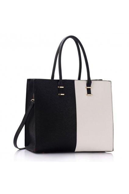 Shopper kabelka do ruky Lois čierna / biela LS00319B