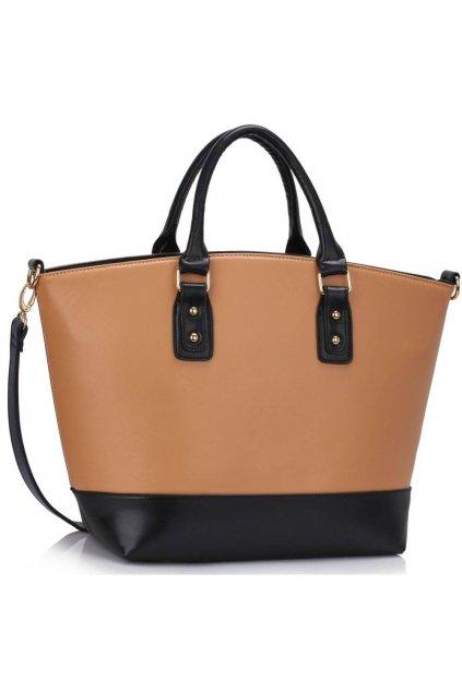 Shopper kabelka do ruky Loran B čierna / telová LS0085B