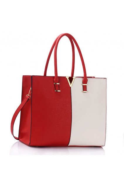 Shopper kabelka do ruky Monica C červená / biela LS00319C