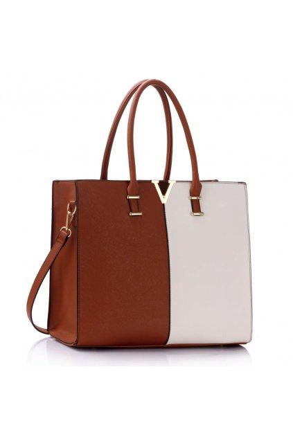 Shopper kabelka do ruky Monica C hnedá / biela LS00319C