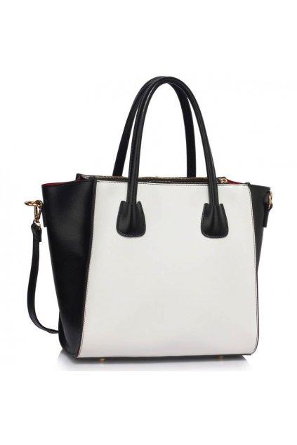 Shopper kabelka do ruky Sandra čierna / biela LS0061B