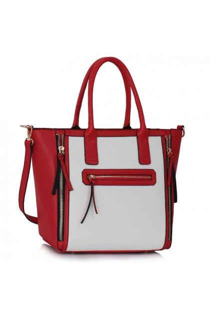 Shopper kabelka do ruky Selina biela / červená LS00133