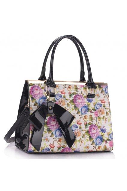 Trendová kvetinová kabelka do ruky Abbie čierna / biela LS00374