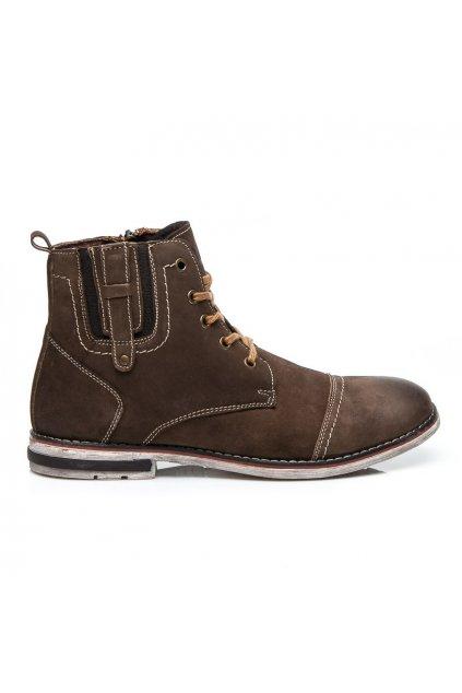 Hnedá pánska obuv SH15-1904BR / L11 veľ.č. 42 (Veľkosť 46)