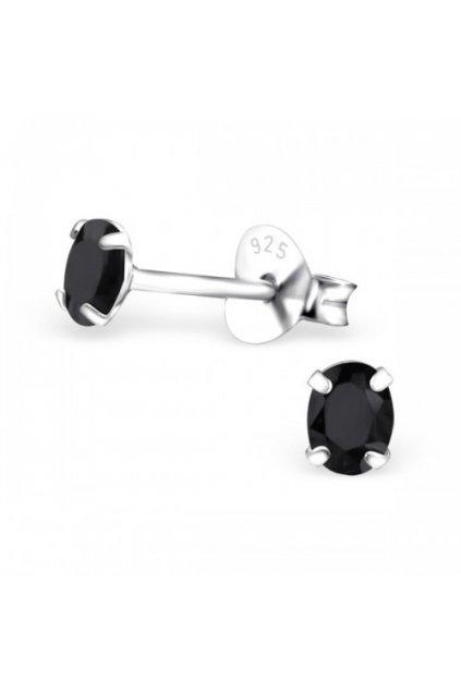Strieborné náušnice bodky - 925 oválny cz čierny kryštál MS9637