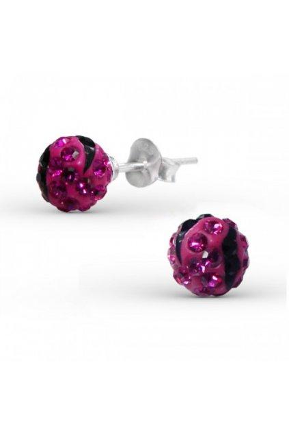 Strieborné náušnice guličky - 925 cz ružový kryštál MS13020