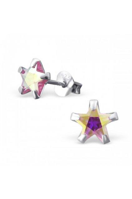 Strieborné náušnice hviezdy - 925 ab cz ružový kryštál MS9526