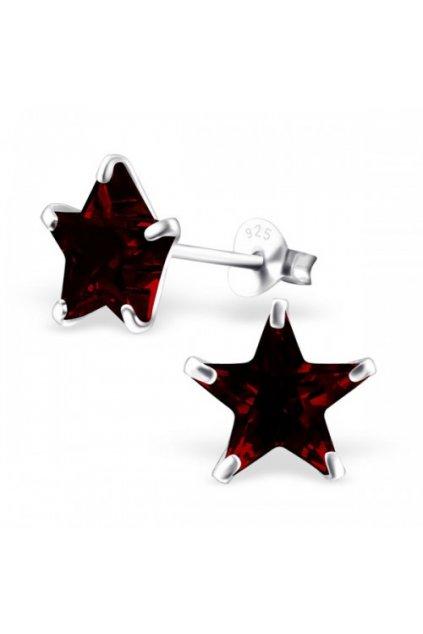 Strieborné náušnice hviezdy - 925 cz granát MS7125