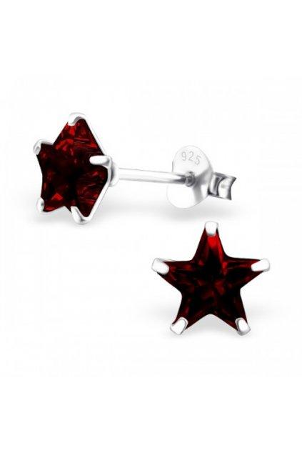 Strieborné náušnice hviezdy - 925 cz kryštál granát MS9527