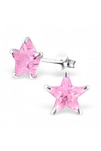 Strieborné náušnice hviezdy - 925 cz ružový kryštál MS7125