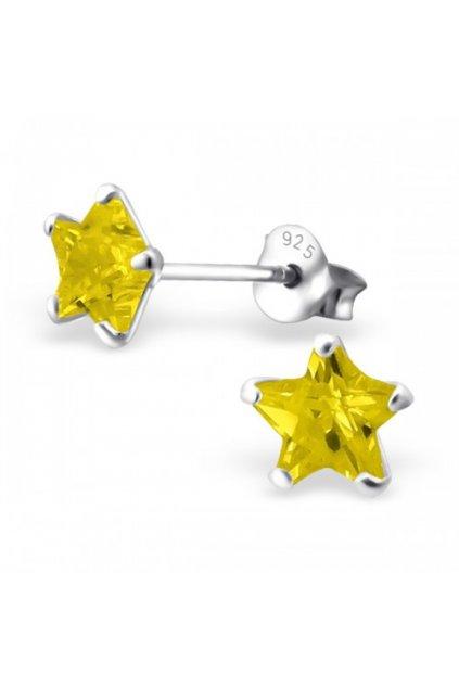 Strieborné náušnice hviezdy - 925 cz žltý kryštál MS9526