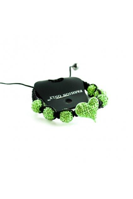 Zelený náramok Shamballa so srdcom