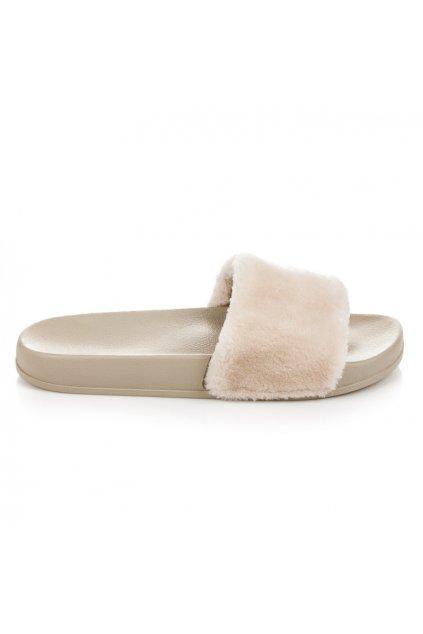 Béžové papuče s kožušinou S27-14BE2