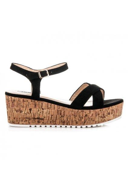 Čierne sandále na korkovej podrážke 2081-1B