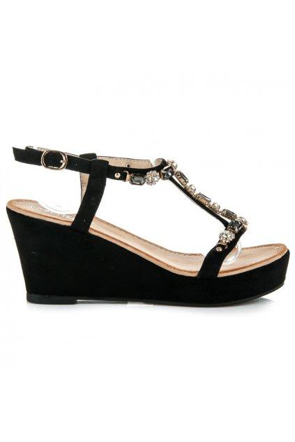 Čierne sandále s kamienkami H8-42B