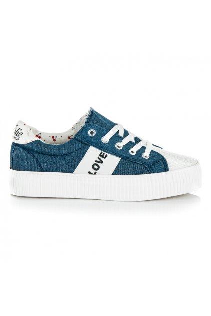 Modré tenisky na platforme LOVE & PEACE K1720302JE
