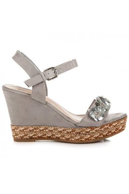 Sivé sandále s kvetmi EL-79G