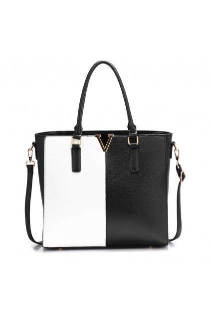 Čierno biela kabelka shopper Aggie AG00420
