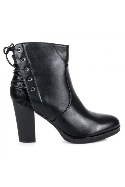 Čierne členkové topánky K-69-1B