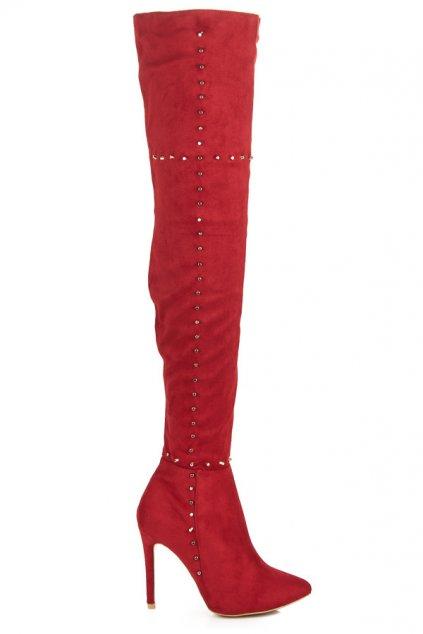 Červené čižmy na ihlovom opätku YA-2727R