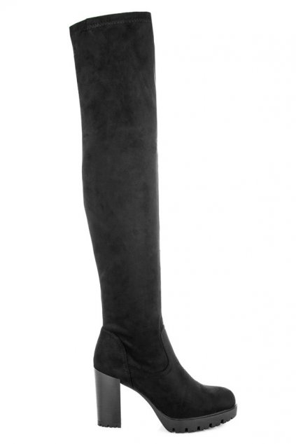 Čierne čižmy nad koleno Bello Star CD108B