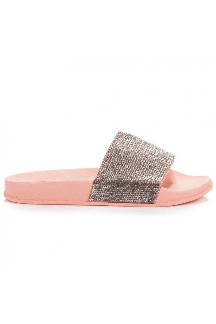 Papuče s kamienkami ružové Queen Vivi 58-5P
