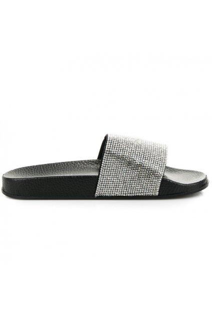 Papuče s kamienkami čierne Queen Vivi 58-5B