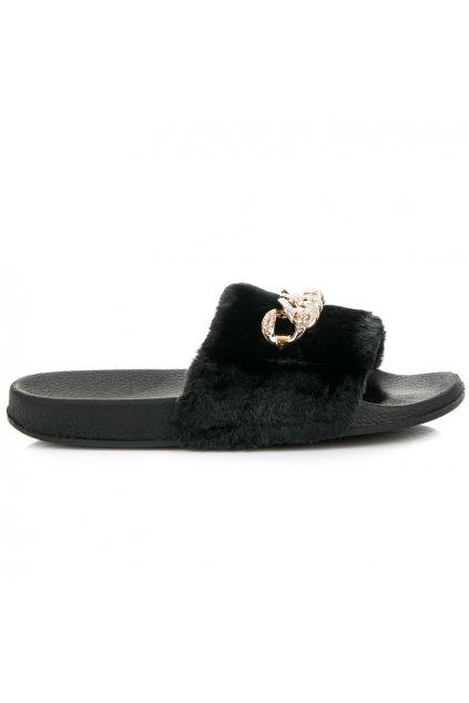 Čierne papuče s reťazou Queen Vivi