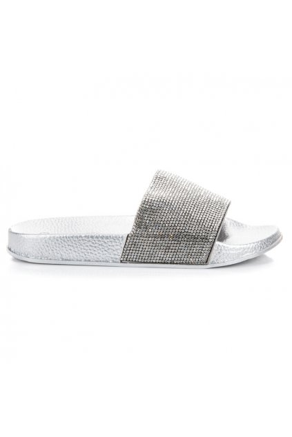 Papuče s kamienkami strieborné Queen Vivi