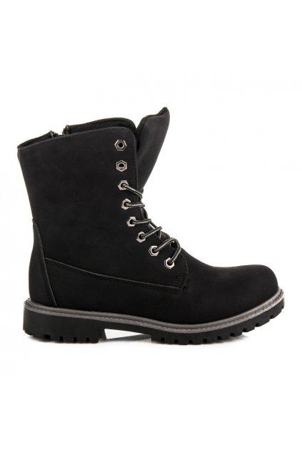 Vysoké čierne workery s kožušinou Ideal Shoes V-5501B