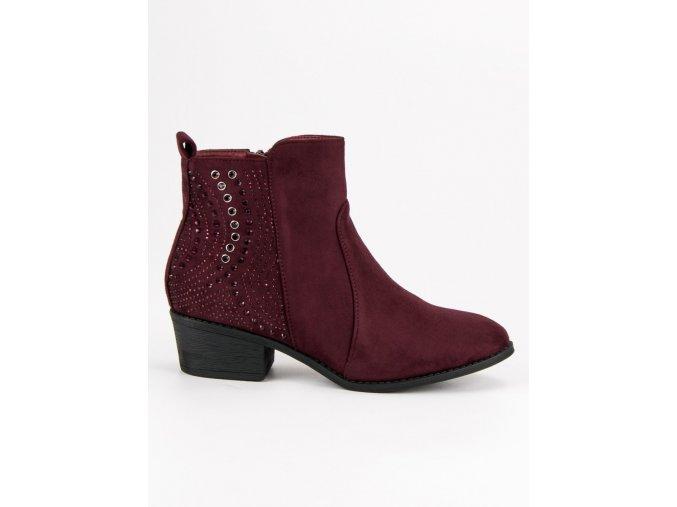 Bordové topánky s kryštálmi Nio Nio