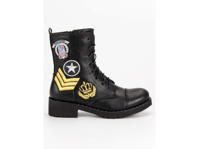 Čierne topánky military Diamantique