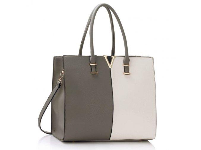 Shopper kabelka do ruky Monica C sivá / biela LS00319C