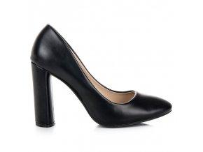 Klasické čierne lodičky na stĺpiku Ideal Shoes