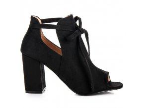 Čierne šnúrované semišové sandále YQE18-1751B