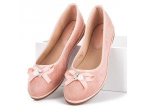 Ružové elegantné semišové balerínky M-8806P