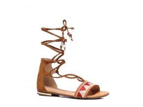 Ploché dámske sandále hnedé 8130-17C