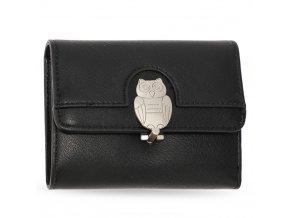 Čierna peňaženka pre ženy Flap sova AGP1102