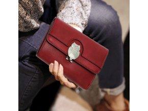 Bordová peňaženka pre ženy Flap sova AGP1102