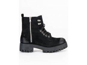 Semišové topánky na šnúrovanie workery čierne C7861NE
